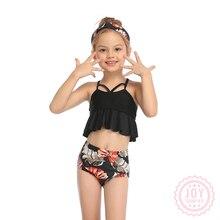 Swimwear Children Beachwear Floral Girl Hem Sweet Ruffled Split Casual Lovely