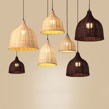 Chinese Rattan Pendant Light Hand Woven Coffee Bamboo Pendant Lamp E27 E26 Hanging Restaurant Light Dining Room Lamp