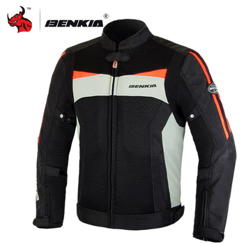 BENKIA Motorcycle Jacket Protective Gear Men Moto Motocross Jacket Summer Breathable Mesh Moto Jacket Motorcycle Jacket Armor duhan summer motorcycle jacket men breathable mesh riding moto jacket motorcycle body armor protector moto cross clothing