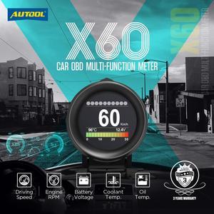 Image 4 - AUTOOL X60 OBD2 Display Speedmeter Tachometer Battery Voltage Water Oil Temperature Gauge Pressure Mileage Auto Scanner HUD