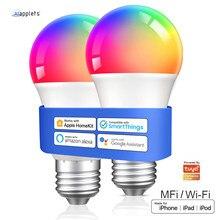 Tuya homekit pode ser escurecido lâmpada inteligente e27 bluetooth wifi led inteligente luz rgbw compatível siri eco alexa google assistente smartthings