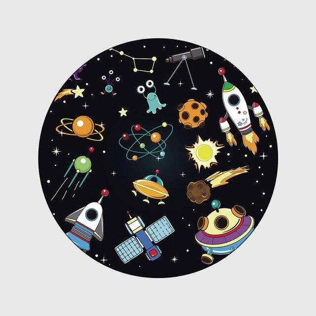 Tapis rond antidérapant pour enfants   Motif de dessin animé, planète spatial, maison, salon, chambre à coucher, chaise