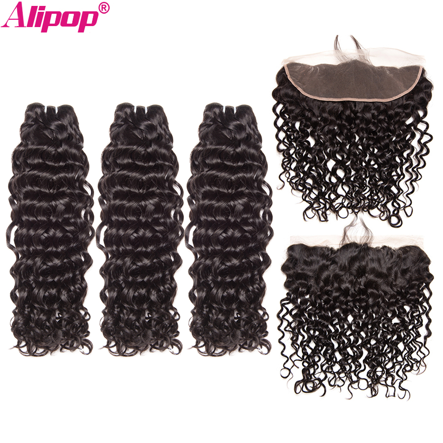 Brazilian Water Wave Ear To Ear Lace Frontal Closure With Bundles Human Hair 3 Bundles With Frontal Closure Alipop Remy 4 PCS