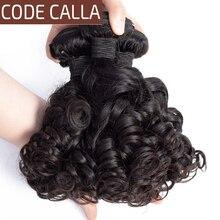 弾むカーリーヘア織りバンドルコードオランダカイウブラジル funmi カーリー毛 100% 人毛エクステンション 1/3/4 個の非レミーの髪バンドル