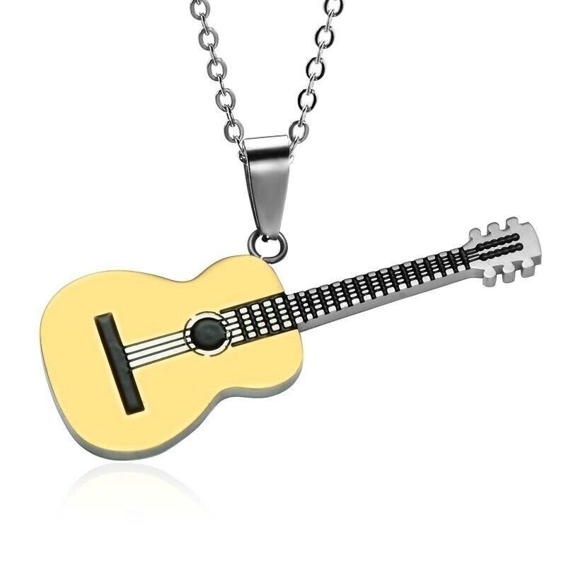 Популярный креативный кулон в виде музыкальной гитары мужские модные аксессуары в стиле хип-хоп рок Модные банкетные украшения праздничны...