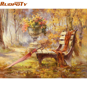 RUOPOTY Chair Park Autumn Landscape DIY Painting By Numbers Wall Art Picture Handpainted Oil Painting For Home Decor Frame 40x50 ruopoty frame mountain lake diy painting by numbers landscape handpainted oil painting modern home wall art canvas painting art