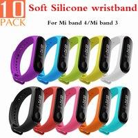 Cinturino da polso in Silicone morbido 10 pz/pacco per Xiaomi Mi Band 3, cinturino da polso colorato per accessori braccialetto intelligente Mi Band 4