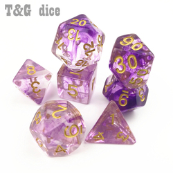 Nebulosa poliédrica de dados, Conjunto blanco de 7 para DnD Game plus, bolsa d4 d6 d8 d10 d12 d20, juego de dados, juguete de regalo