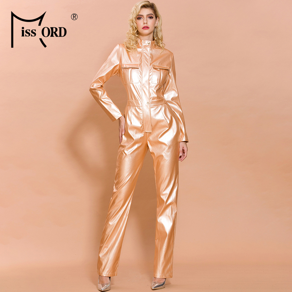 Missord 2020 Autumn And Winter  Women Fashion High Neck Long Sleeve Elegant Latex Bodycon  Jumpsuit FT19482