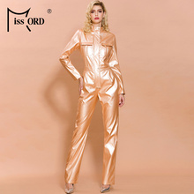 Bodycon Jumpsuit Latex Long-Sleeve Elegant High-Neck Women Fashion FT19482 And Autumn