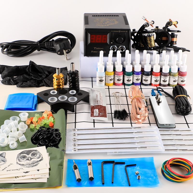 Tattoo Kit 2 Tattoo Machines Gun 20pc Ink Power Supply Tattoo Grips  Body Art Tools Complete Tattoo Set Accessories Supplies
