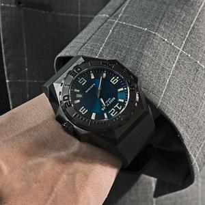 Reef Tiger/RT marca superior esporte relógios dial azul tudo preto automático mecânico à prova dwaterproof água relógio data relogio masculino rga6903