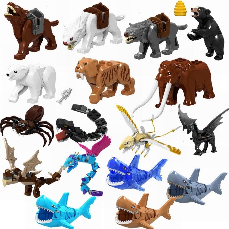 Verrouillage animaux loup sauvage araignée ours tigre requin blocs de construction jouets pour enfants Compatible avec verrouillage animaux enfants cadeaux