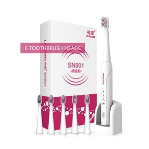 Image 2 - Lansung sonic elektrikli diş fırçası yetişkin akıllı Ultra sonic diş fırçası şarj edilebilir 8 diş fırçası kafaları değiştirilebilir beyazlatma