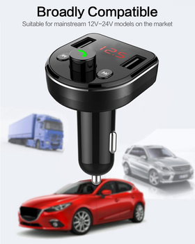 Car MP3 Bluetooth Player 4.8A Dual USB Intelligent Shunt Car Charger Phone Handsfree FM Transmitter Digital Display Car Charger image