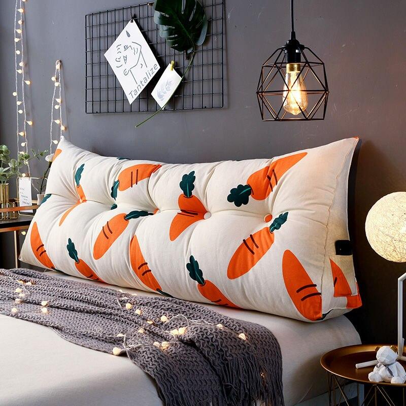 Tecido de Lona Travesseiro para Cama Triangular Europeu Encosto Travesseiro Grande Longo Sofá Almofada Macio Bolsa Quarto