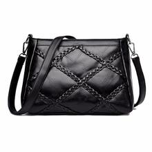 купить Casual Lady Crossbody Bags Women Soft PU Leather Shoulder Bags High Quality Luxury Weave Pattern Messenger Bag Woman's Handbags по цене 1020.61 рублей