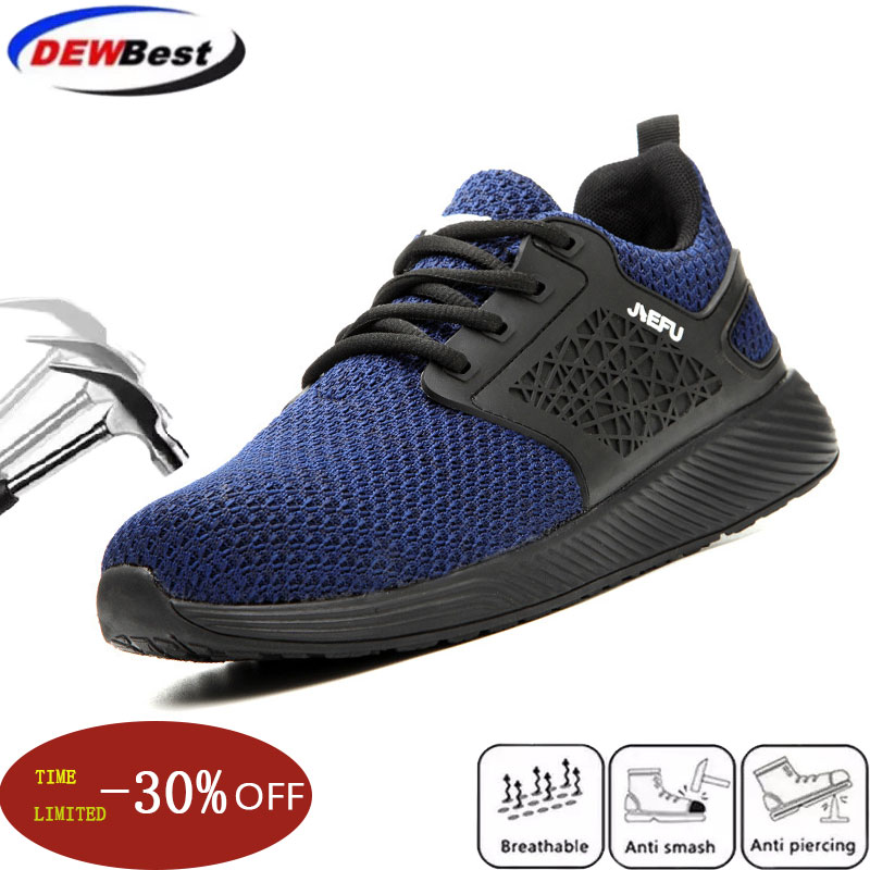 Dewbest Men Safety Work Shoes Boots Male Autumn Construction Work Shoes Steel Toe Indestructible Safety Work Boots Sneakers