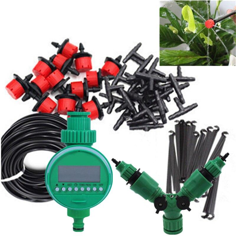 30 M 2-Manieren Tuin Drip Irrigatiesysteem Watering Kits Met Water Timer Druppelaar Verstuiver Kassen Pot Planten