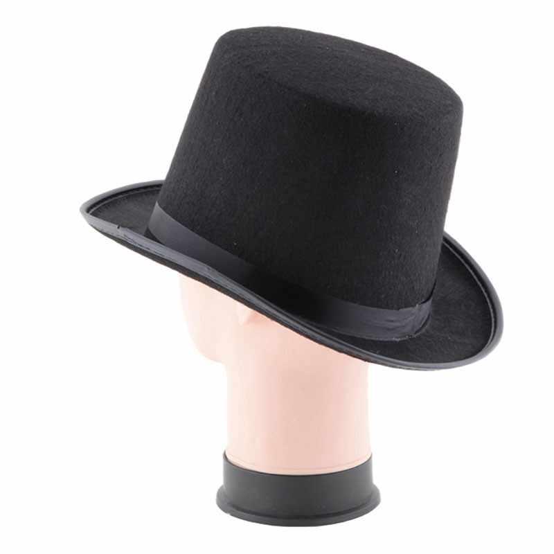 Mag wykonywane wysokiej kapelusz Halloween magiczny kapelusz czapka z płaskim moda czarny kapelusz Jazz sceniczne występy mężczyzn i kobiet # H