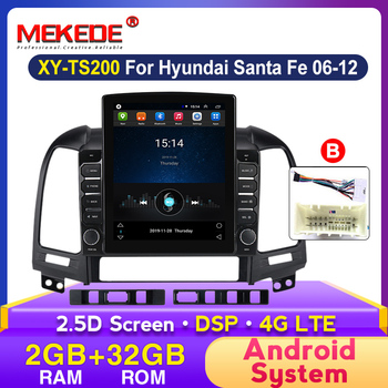 2 Din Android 2+32G 2.5D DSP Car Radio Multimedia Video Player For Hyundai Santa Fe 2 2006-2012 GPS Navigation BT Carplay 4G Lte image