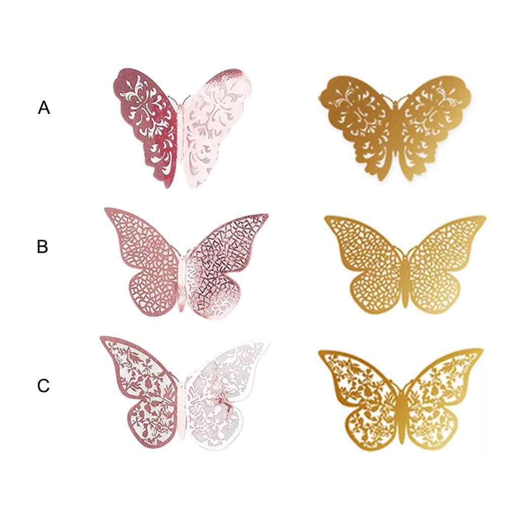 12Pcs 3D Butterflies Wall Sticker Metallic Decal Wedding Party DIY Home  Decor