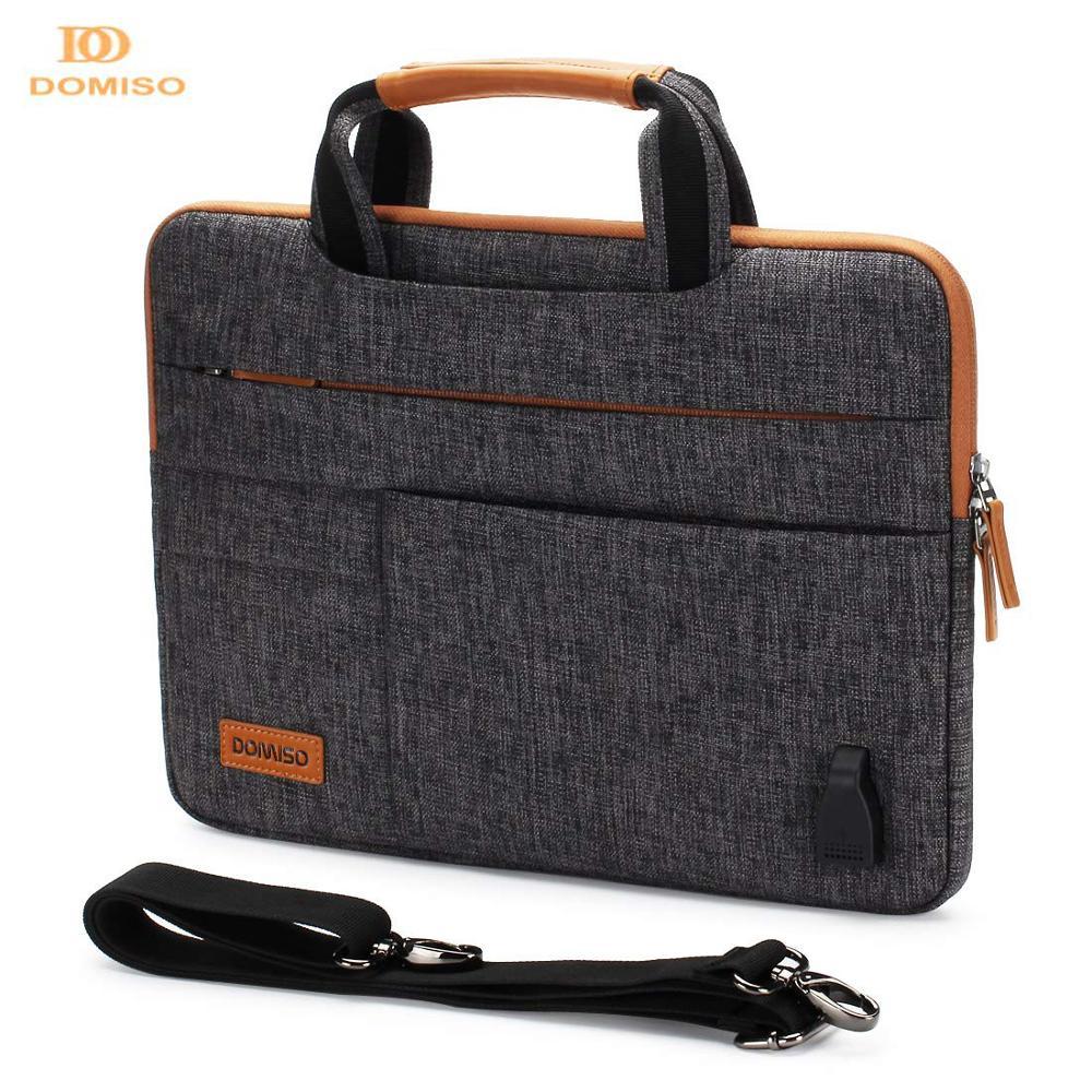 DOMISO 11 13 14 15.6 17.3 pouces multi-fonctionnel pochette pour ordinateur portable mallette d'affaires Messenger sac avec Port de chargement USB brun gris