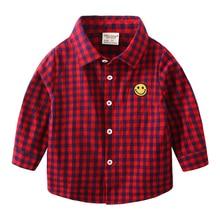 Boys' Spring Long Sleeve Shirt Spring and Autumn Small Children's Korean-Style Shirt Boys' Cotton Children's Plaid Shirt Fashion