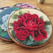 Peônia chinesa flor ponto cruz com aro para iniciante diy bordado pintura kit bordado bordado artesanal artesanato