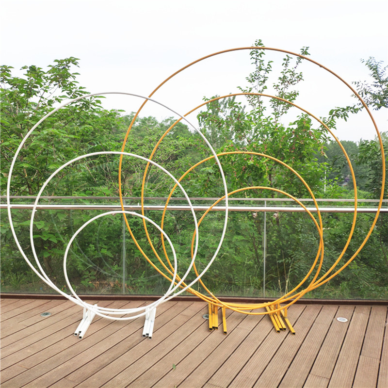 Wrought Iron Wedding Mariage Round Backdrop Arch Stand Birthday party DIY Decoration Stage Circle Arch Outdoor Background Frame