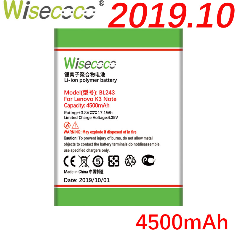 Wisecoco BL243 4500mAh New Battery For Lenovo K3 Note K50-T5 K50-T3S A7000 A5500 A5860 A5600 A7600 battery Replacement image