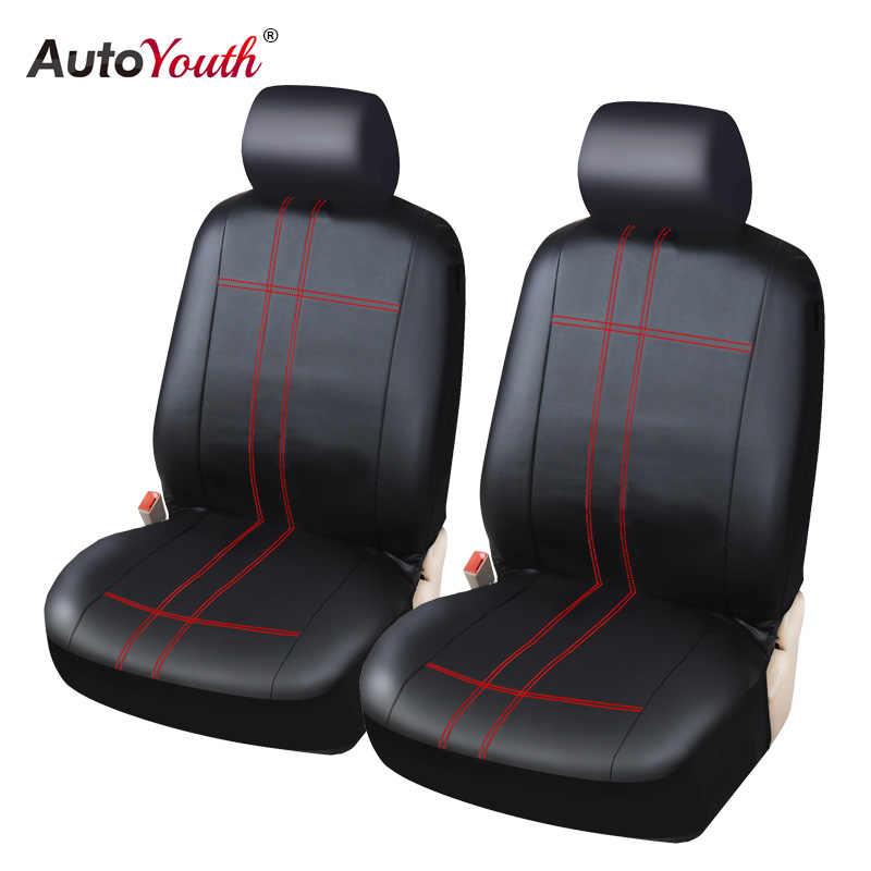 Autoyouth Kulit PU Klasik Pair Set Penutup Kursi Mobil untuk Penutup Kursi Depan Warna Hitam-Cocok untuk Sebagian Besar Mobil truk, SUV, atau Van
