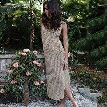 Womens Crochet Beach Wear Cover up Swimwear Bikini Long Maxi Dress
