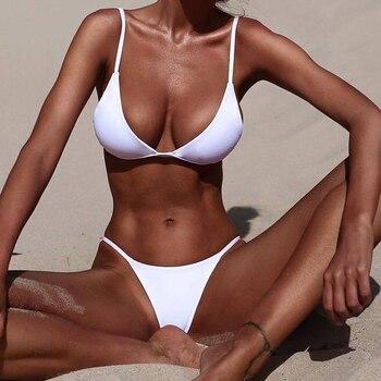 Low Waist Bikini Swimwear Women Swimsuit Push Up Female Bathing Suit Triangle Brazilian Bikini Set 2021 New Beachwear Sexy Thong 2