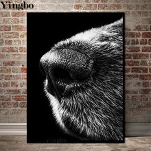 wolf animal Full square 5D DIY diamond painting full drill embroidery Black and white rhinestone mosaic