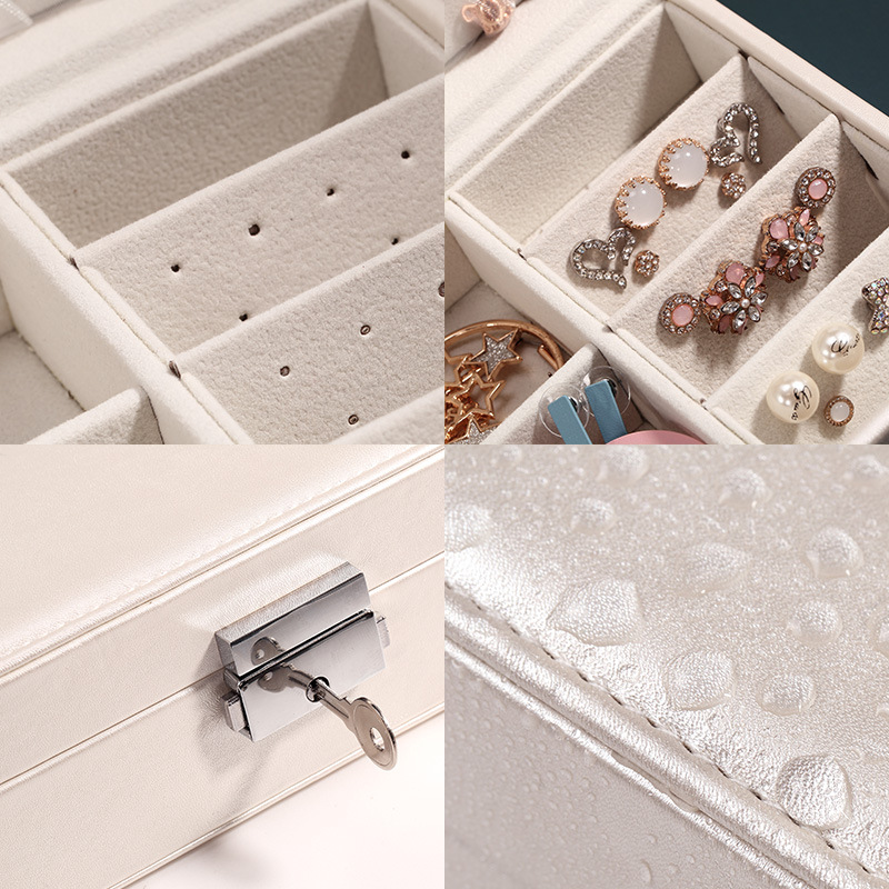 Portable multi function PU leather jewelry box fresh and simple earrings ring multi function jewelry storage