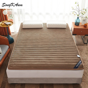 SongKAum high quality Corduroy Mattresses Thicken Keep warm Tatami Foldable Single double Mattress Help sleep King Queen size