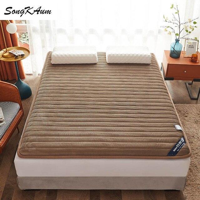 SongKAum high quality Corduroy Mattresses Thicken Keep warm Tatami Foldable Single double Mattress Help sleep King Queen size