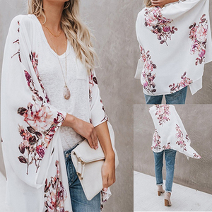 Plus Size Autumn Retro Floral Kimono Long Sleeve Chiffon Blouse Casual Loose Beach Wear Cover Up Shawl Cardigan Shirt Women Tops