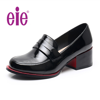 EIE High Quality New Women Pumps Shoes Patent Leather Thick Heel Shoes Women Round Toe Pumps Fashion Ladies Pull-On Shoes D0385