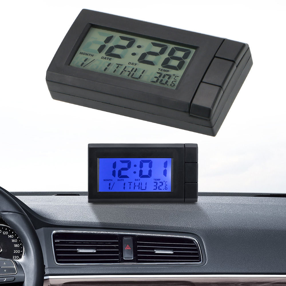 LEEPEE Temperatur Display Elektronische Uhr Selbst-Adhesive <font><b>Auto</b></font> Ornamente <font><b>Auto</b></font> LCD <font><b>Digital</b></font> Display Uhr <font><b>Auto</b></font> Uhr <font><b>Thermometer</b></font> image