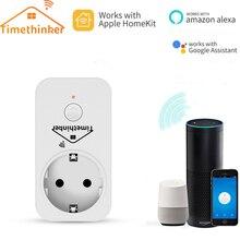 Timethinker Smart WiFi Plug Homekit Socket EU Adapter for Apple Siri ALexa Google Home APP Voice Remote Controller