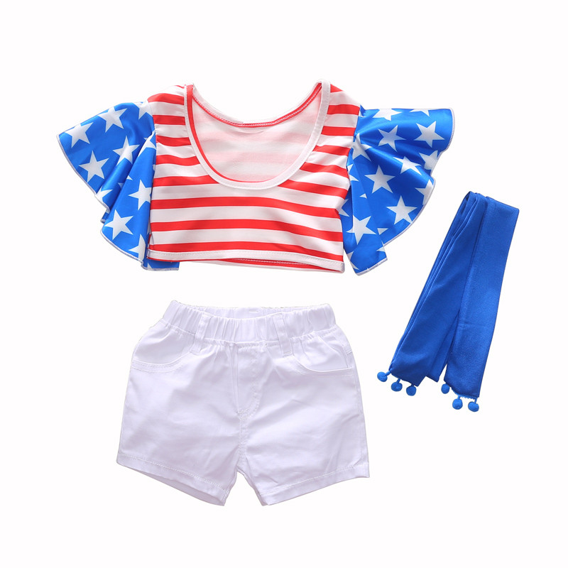 1-6Y girls short set ruffle sleeve striped crop top+white summer outfits todler girl clothes boutique