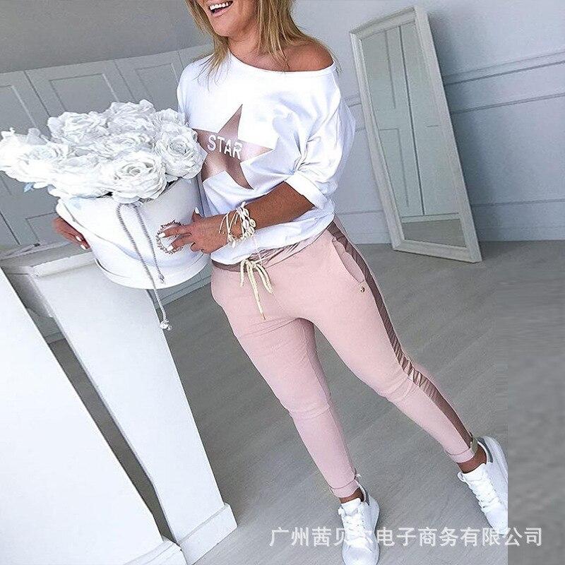 WEPBEL 2pcs Sport Women Cothes Set Star Print Top + Full Length Drawstring Pants Hip Hop Casual Fashion New Clothing Set