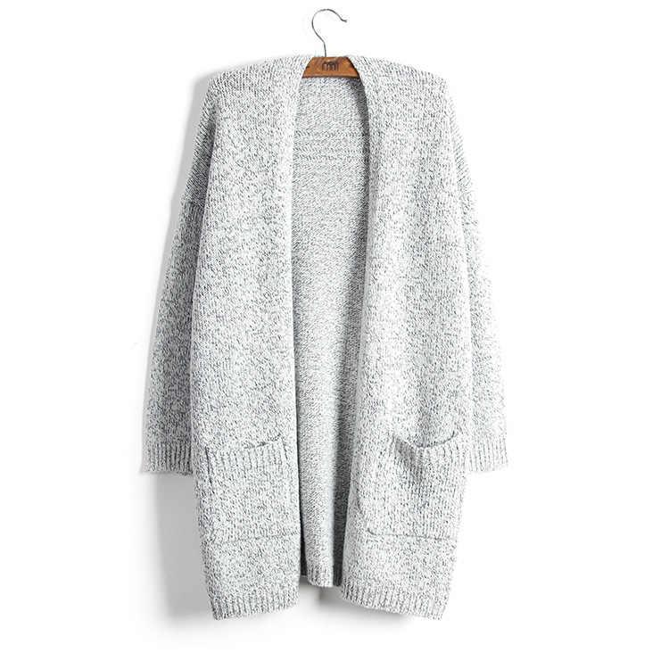 스웨터 여성 카디 건 플러스 크기 2019 긴 새로운 단색 v-목 유럽 가을 겨울 긴 소매 주머니 Vestidos MMY76002