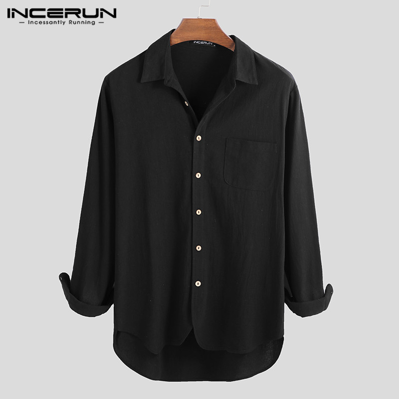 INCERUN Mens Casual Shirt Cotton Linen Button Breathable Camisa Solid Color Long Sleeve Vintage Male Brand Shirt Harajuku S-5XL