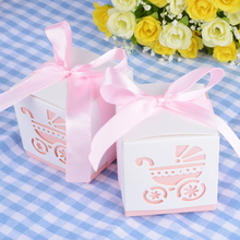 50pcs Baby Shower Stroller Candy Sweet Gift Boxes Christening Baby Shower Baptism Party Bomboniere Favors Box