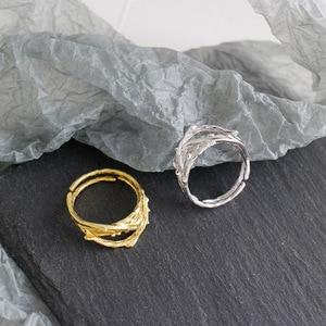 Image 2 - 925 anillos de plata esterlina de oro hueco Irregular para mujer, anillo Anelli Argento 925, joyería fina para mujer, joyería