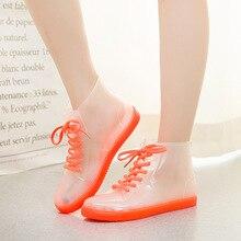 Fashion Women's short tube rain boots Korean non-slip waterproof shoes adult crystal transparent girl jelly rain boots Yasilaiya