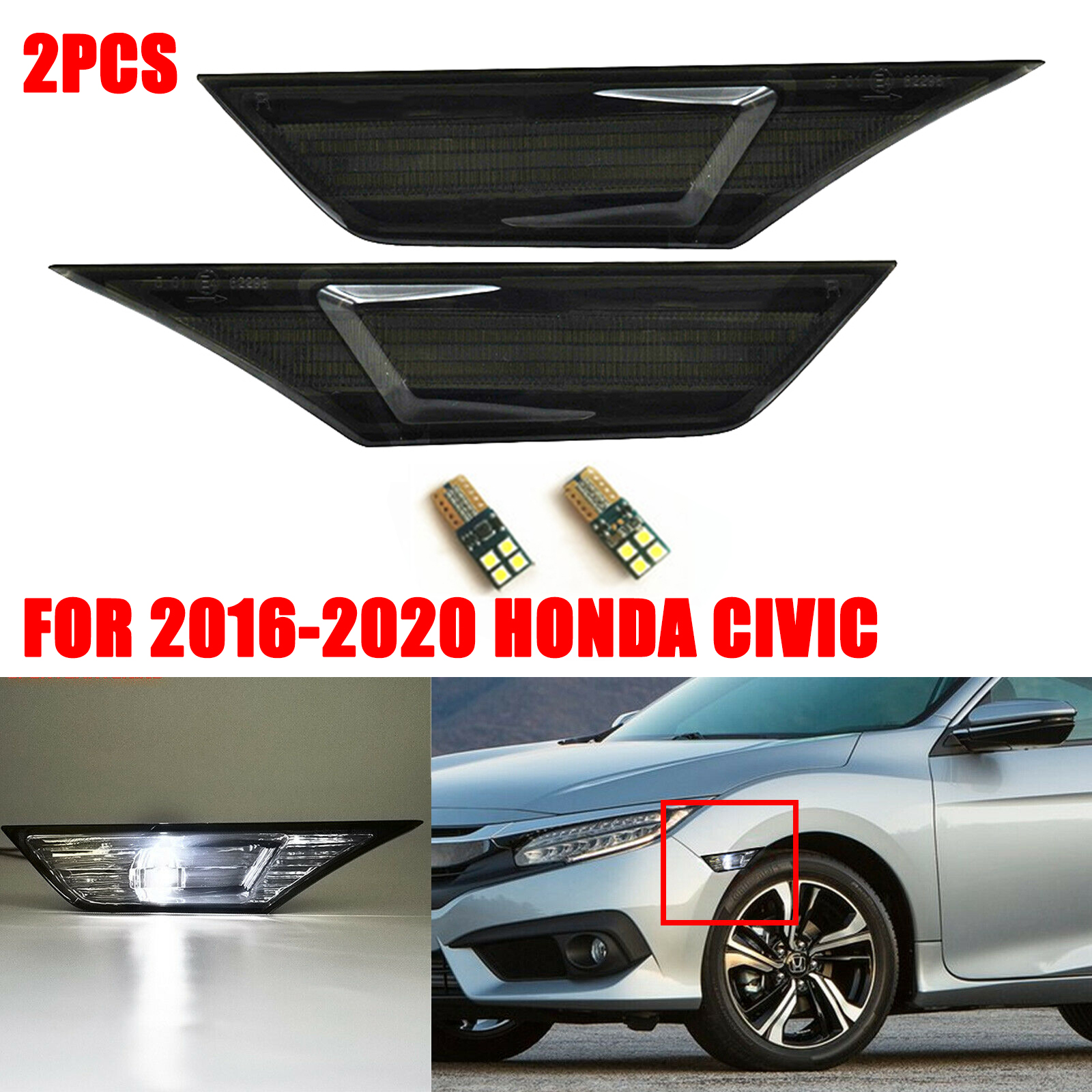 Pair Smoked Side Marker Signal Lights+T10 LED Bulbs For Honda Civic 2016-2019